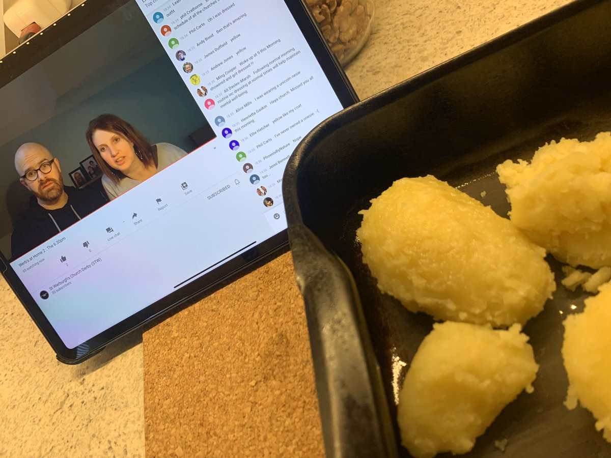#WerbsAtHome watching church at @stwderby whilst cooking roast potatoes:-)