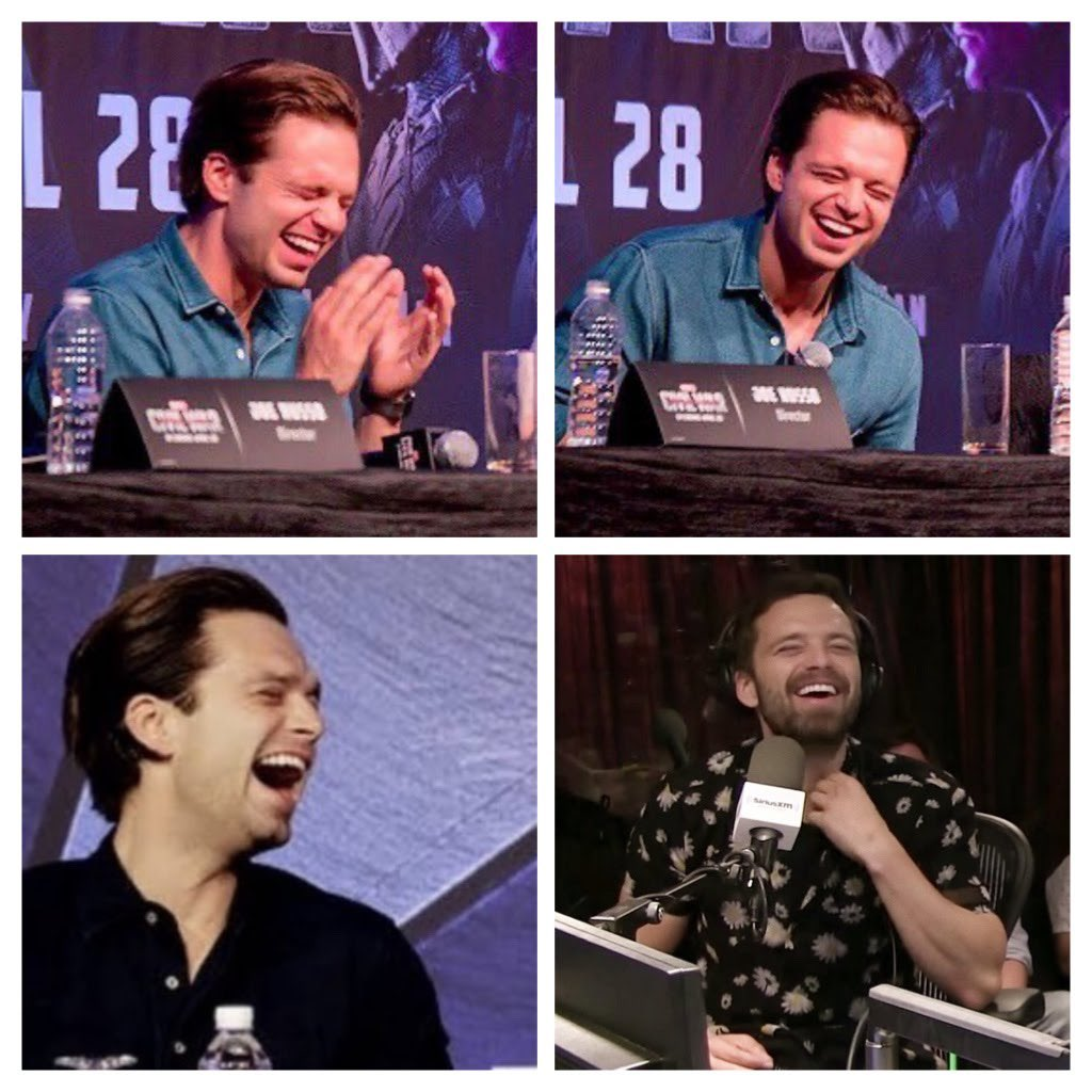 Everyone needs a giggling and laughing Sebastian on their TL to brighten the day. May he always be this happy.  #SebastianStan #Adorable pic.twitter.com/5dbK5SxYpu