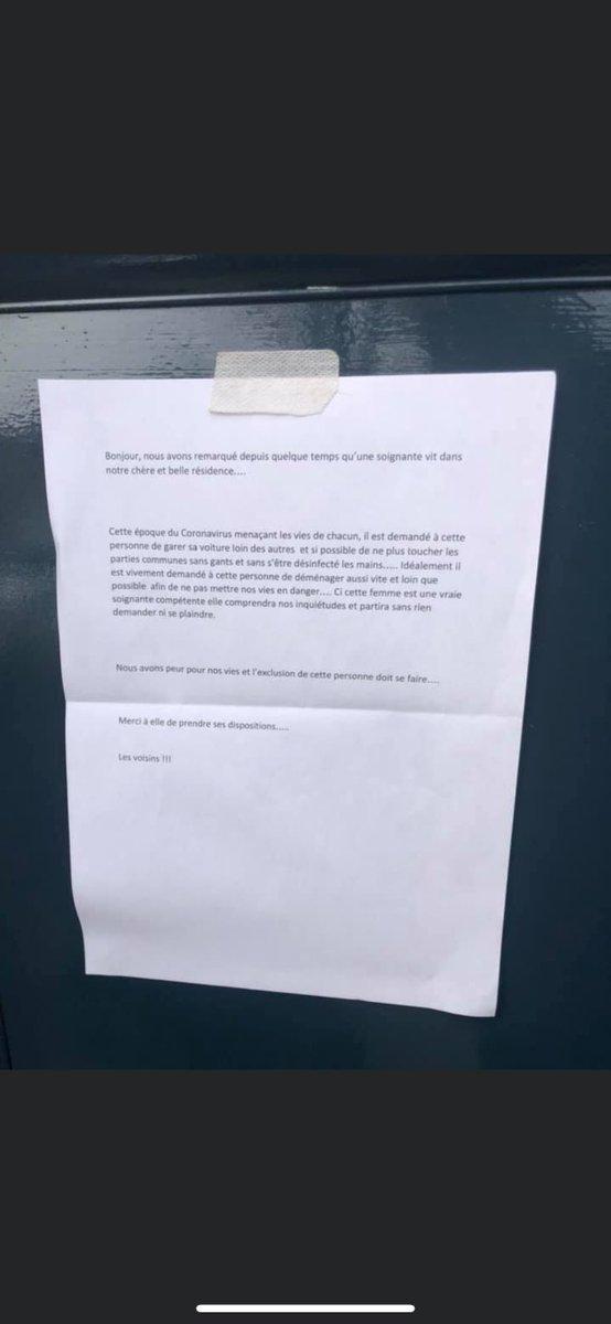 Quand une infirmière des urgences de l'hôpital de #Bayonne découvre ce message sur la porte de son domicile, on revit les pages les plus sombres de notre histoire. Le personnel hospitalier mérite, bien plus que de l'égard, notre profond respect. #Covid_19 #solidarite https://t.co/wSjffY261m