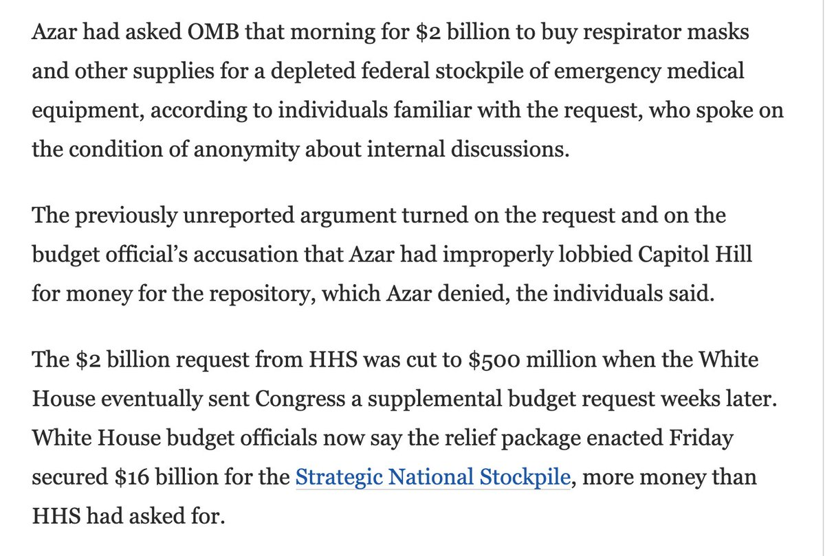 HUGE @washingtonpost story:  On Feb 5, HHS Secretary Azar requested $2 billion to buy respirator masks & other supplies for the national stockpile  Trump cut that request by 75%  Now a mask shortage is forcing healthcare workers to use bandanas & scarves