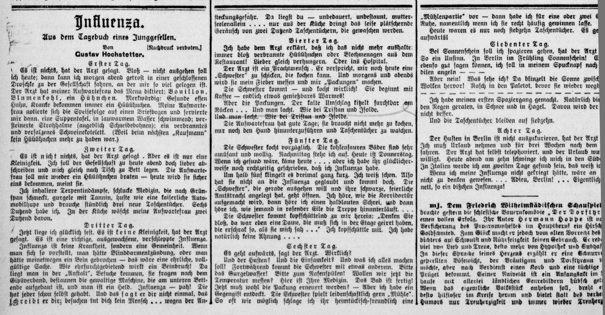 #Berlin|er Tageblatt am 17. April 1909 auf Seite 2 mit dem #Tagebuch eines #Junggesellen zu seiner #Influenza (Erkältung) von #GustavHochstetter. Ein #Digitalisat der @sbb_news  https://classic.europeana.eu/portal/de/record/9200355/BibliographicResource_3000096336958.html…pic.twitter.com/PrXiihO8vS