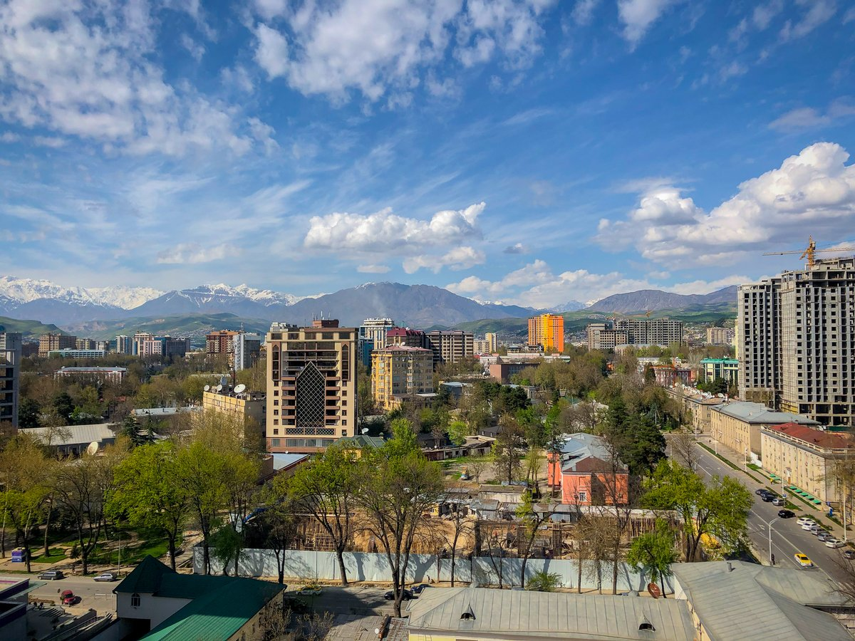 #Dushanbe , #Tajikistan  today off of the rooftop of one of the new highrises by the Opera theatre.