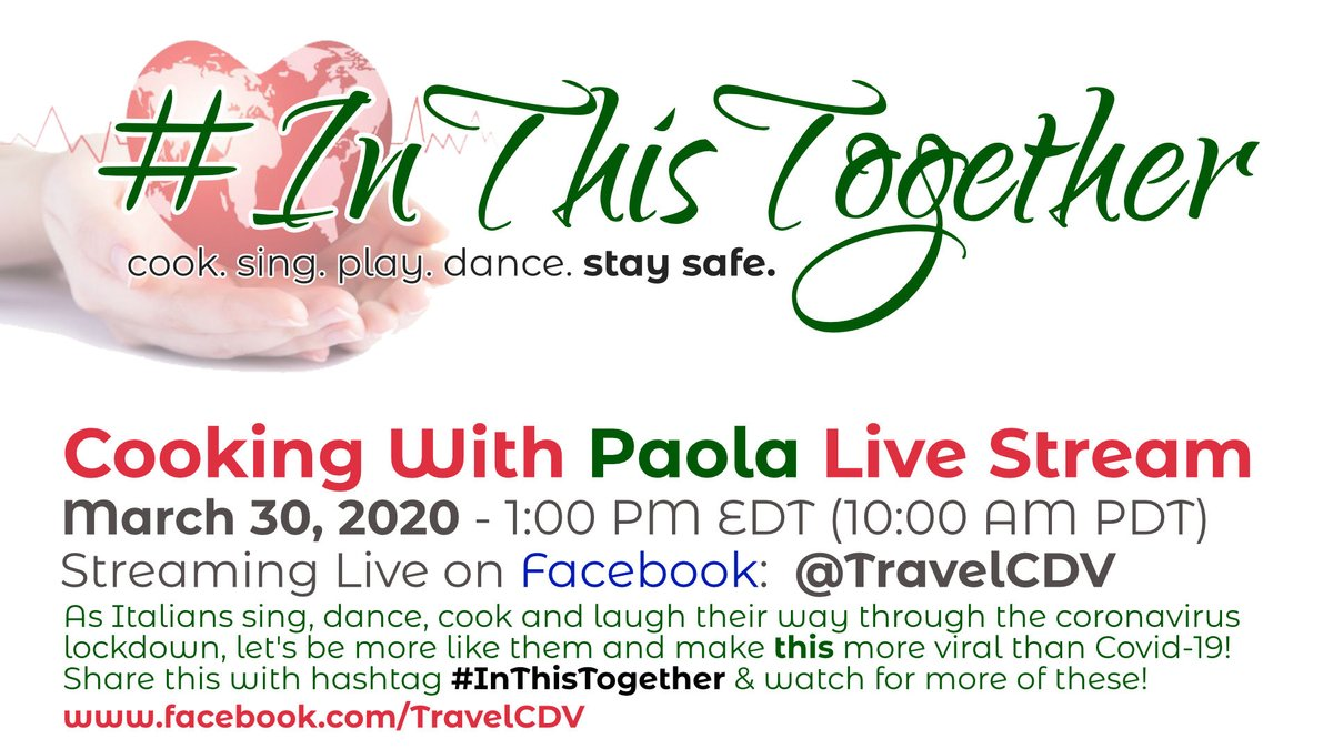 Cooking with Paola Livestream Facebook Live Monday at 1:00PM EDT. https://t.co/oYrFx3K1mL  #InThisTogether #IStandWithItaly #Cooking #Italy #coronavirus #COVID19 https://t.co/xldf5CHuXF