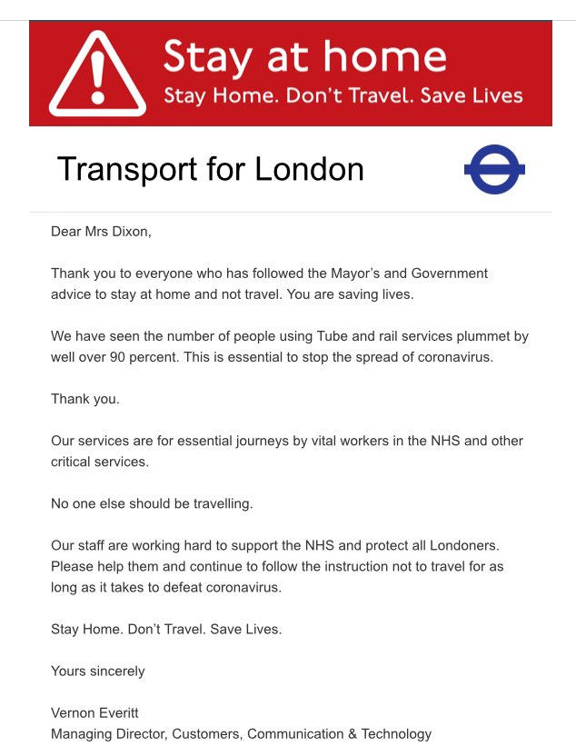 Tube travel yesterday (Saturday) was down 96% on same say day previous year, bus travel down 83%. Thank you @BTPLondon for the support you are providing and thank you Londoners for staying home so critical workers can travel.