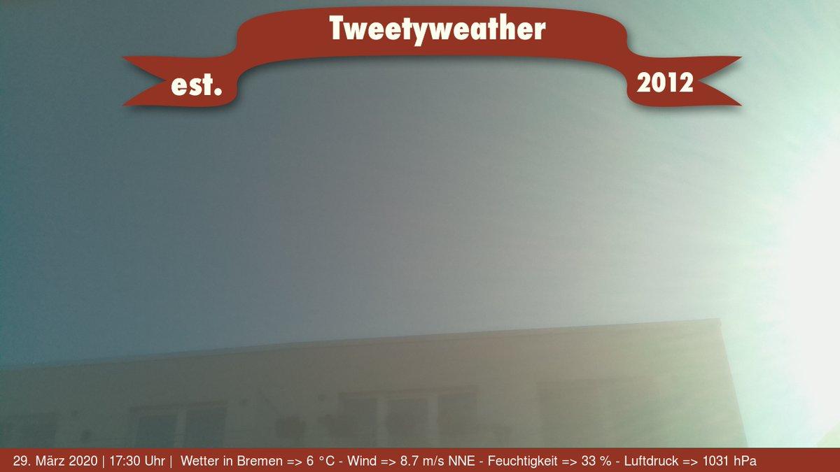 Wetter in Bremen => 6 °C - Wind => 8.7 m/s NNE - Feuchtigkeit => 33 %% - Luftdruck => 1031 hPa pic.twitter.com/yvO244nqx0