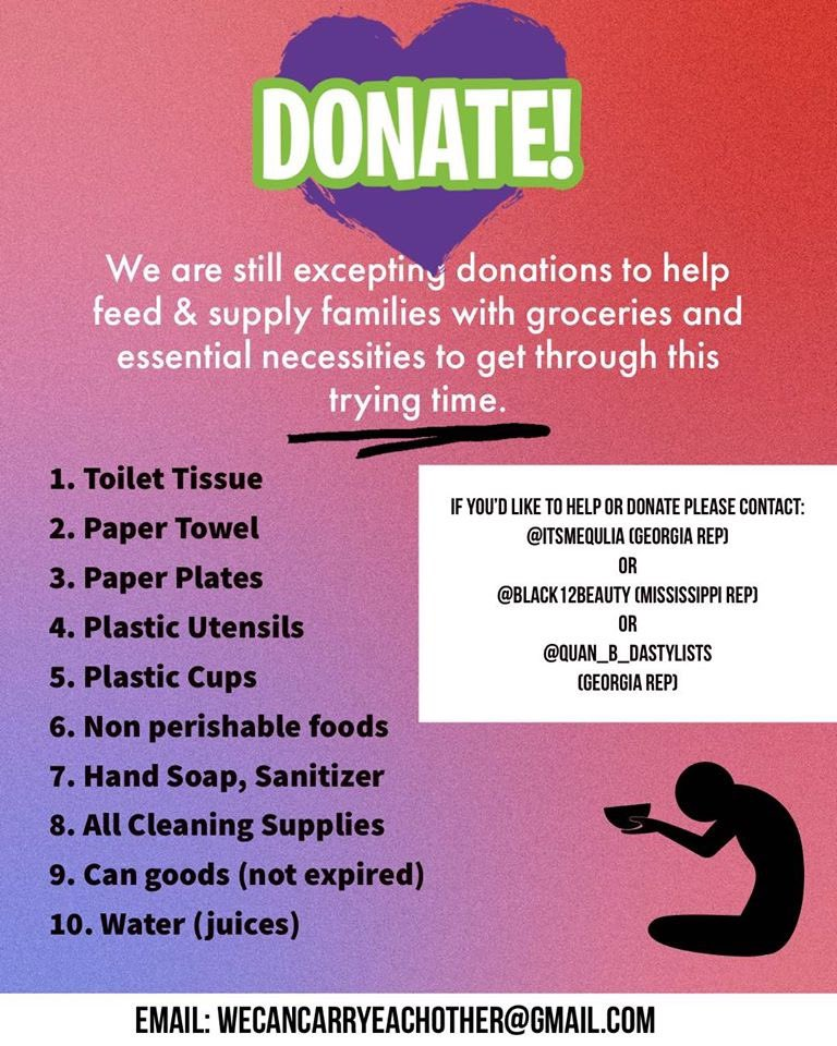 We have to help each other during this time of need U can make donations of products or Cashapp $QuanBDastylists or $itsmequlia Lets help families in need. #Mikeepps #Hustlegang #Dcyoungfly #tiny #Jermainedupree #Lilbowow #Dabrat #RickeySmiley  #nickcannonpic.twitter.com/4FhXpwG7Qj