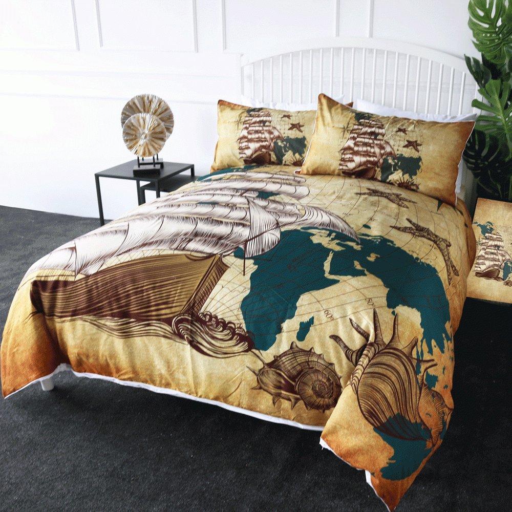 #family #decoration #cute Sailing Ship Bedding Set Nautical Map Quilt Duvet Cover 3pcs pic.twitter.com/dVtxdd5SrY