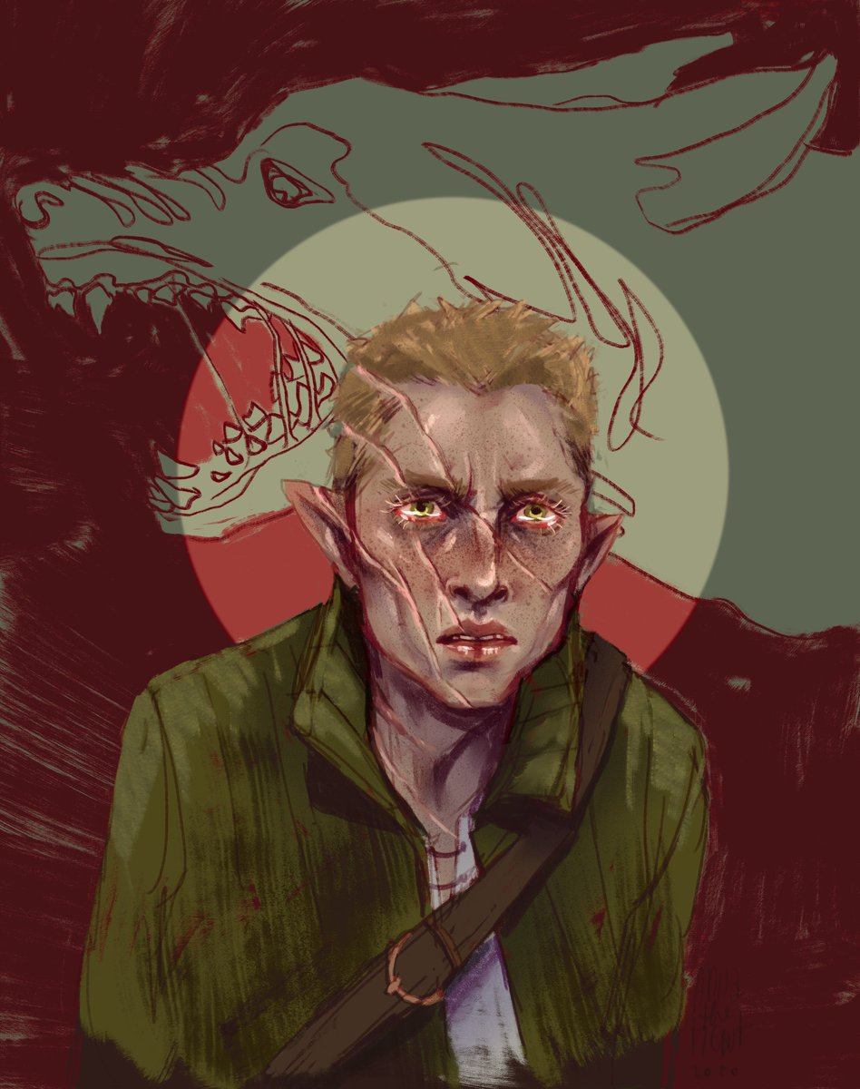 Another warmup Briki..  We are only 5 sessions in but so much has happened already. its crazy. also, both the scars and the (were)wolf thing were kinda un-intentional (from me) but they provide such great visuals for the art now. im very happy about that. pic.twitter.com/gqruYbaKBg