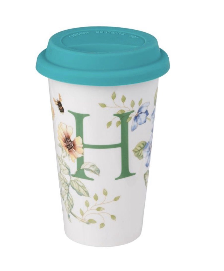 """""""Lenox Butterfly Meadow Thermal Travel Mug, H Enjoy hot or cold beverages on the go with a double-walled thermal travel mug. Hand wash only. Available in other letters."""" #Lenox #butterflymeadow #travelmug #Jashanmal #Bahrainpic.twitter.com/asAqiHX7zN"""