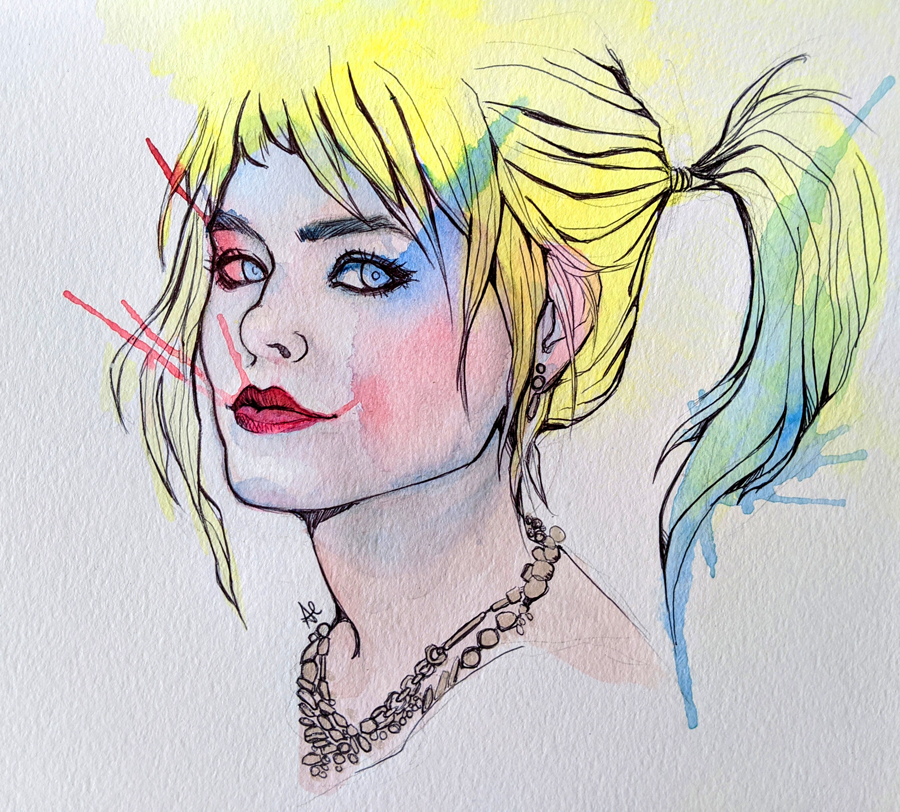 Playing around with watercolor yesterday. #HarleyQuinn #gothamcitysirens #dccomicspic.twitter.com/dffcWRRMHE