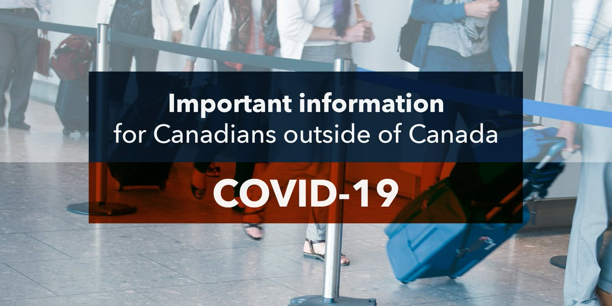 If you are currently outside of Canada and unable to return home:               ✔️ Follow local public health advice ✔️ Take precautions against #COVID19 ✔️ Stay in contact with family and friends http://ow.ly/O4ar50yYXMl