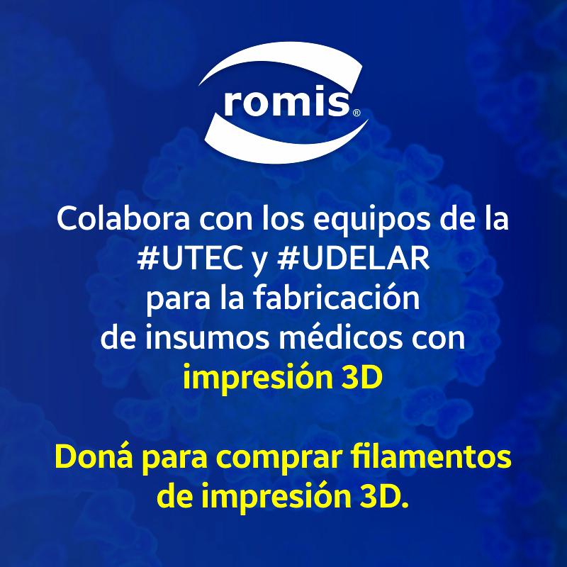 ROMIS se suma al esfuerzo💪 de #UTEC y #UDELAR para la fabricación de insumos médicos con #impresión3D #LeGanamosEntreTodos ¡SUMATE VOS TAMBIÉN! 👉Colabora aquí: https://t.co/U9AO7BbUKB https://t.co/mgkXEhWnF9
