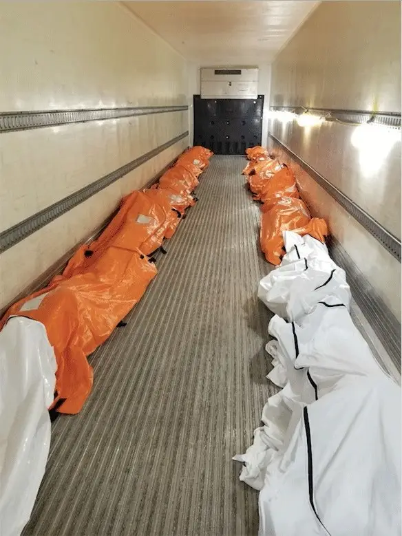 Here are some victims of COVID-19 in a refrigerated truck in NYC, because the morgues are overflowing. It's not likely their viewing habits were captured in the latest Nielsen numbers, either.