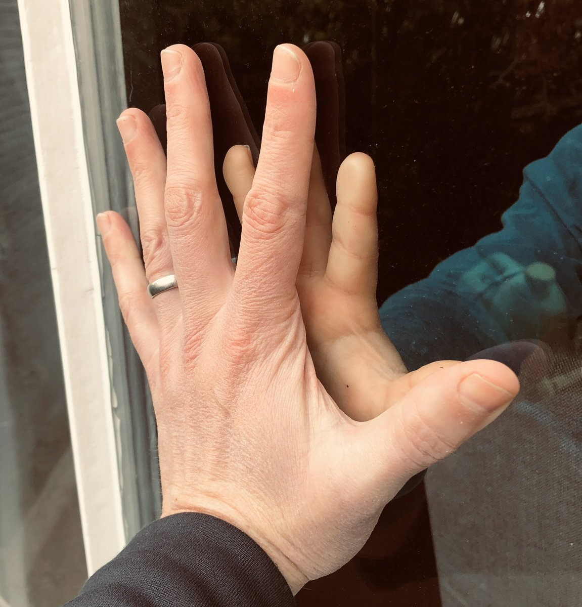 I said goodbye to my wife & son yesterday for 14 days. They need to isolate. I need to work. Today at our house I 'touched' him through the glass. My heart is bursting with love & admiration for them, supporting me to do this. I love you. #Covid_19 #NHS @UHBristolNHS