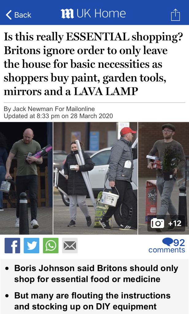 FOR WHAT IT'S WORTH: I'm not sure if hiding in car parks taking long lens photos of people shopping quite qualifies as 'essential' either.