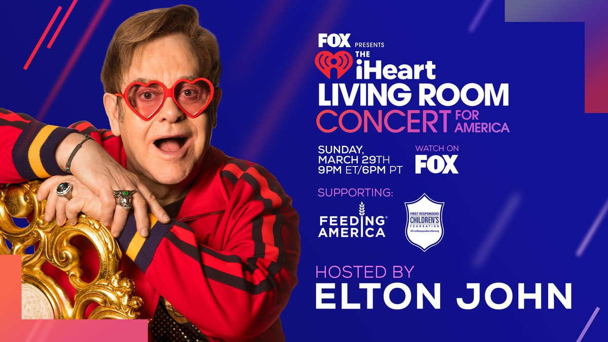 Join Elton tonight as he hosts the @iHeartRadio Living Room Concert For America on @FOXTV! Watch from 9pm ET / 6pm PT for music performances from a superstar line up as we raise money for those in need. #iHeartConcertOnFOX
