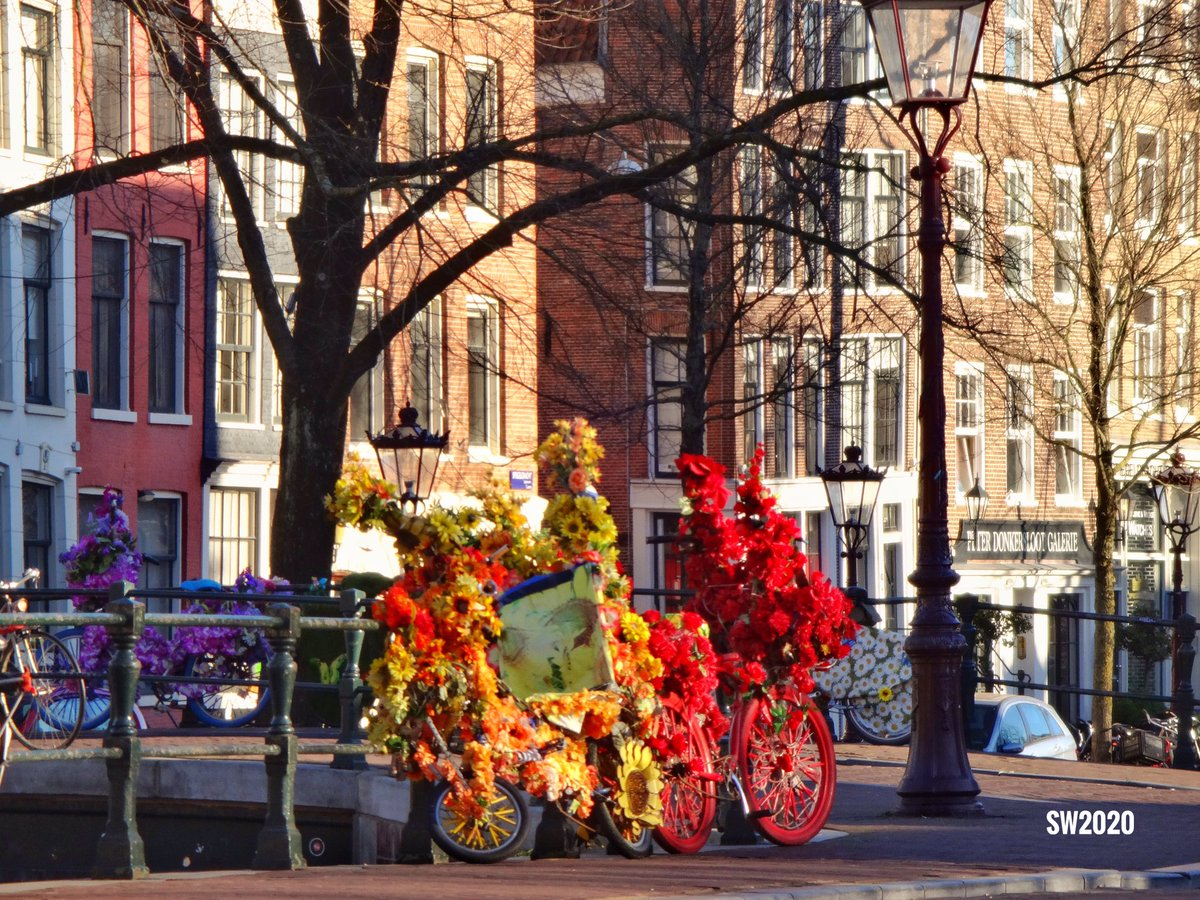 The bicycles of the Flowerbikeman on the Spiegelgracht in #Amsterdam pic.twitter.com/NPHlyCYUfw