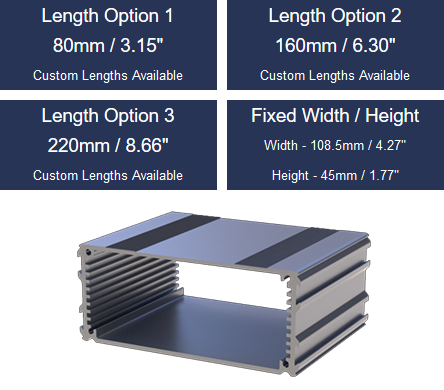 The Lincon Binns E-Case C Extruded Aluminium Enclosure Range are all available at KGA Enclosures Ltd.   » Custom Lengths » Width 108.5mm (Fixed) » Height 45mm (Fixed)  #EngineeringUK #ManufacturingUK #Mfg #electronics #UKmfg #manufacturers #GBmfg