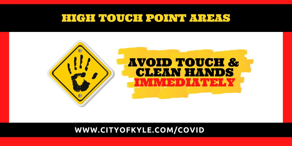 These surfaces are considered High Touch Point Areas and present a heightened risk of spreading #COVID19   Door handles  Gas Pumps  Credit Card terminals  Faucets & Bathroom fixtures  Trashcans #CalmAndCleanInKyle #KyleTX.  http://cityofkyle.com/covid  for tstats & infopic.twitter.com/u0M0LahOb6