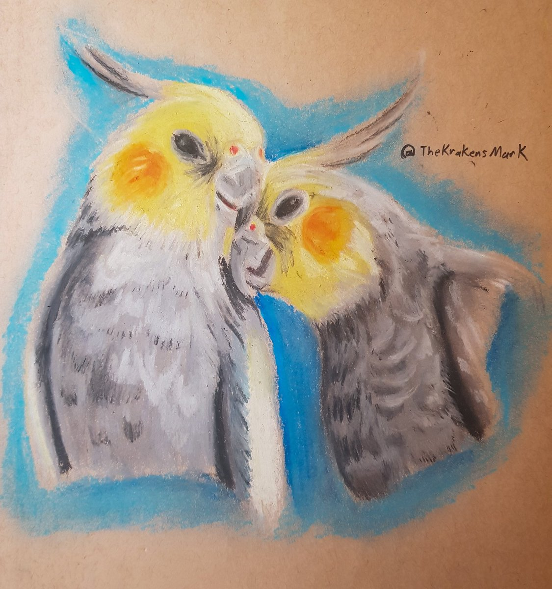 An #oilpastel drawing I did in a couple of hours featuring the Honk Squad of @AlexTheHonk Dominic on the left, Alex on the right. These lovely boys cheer me up alot.pic.twitter.com/AYY4IX4ijV