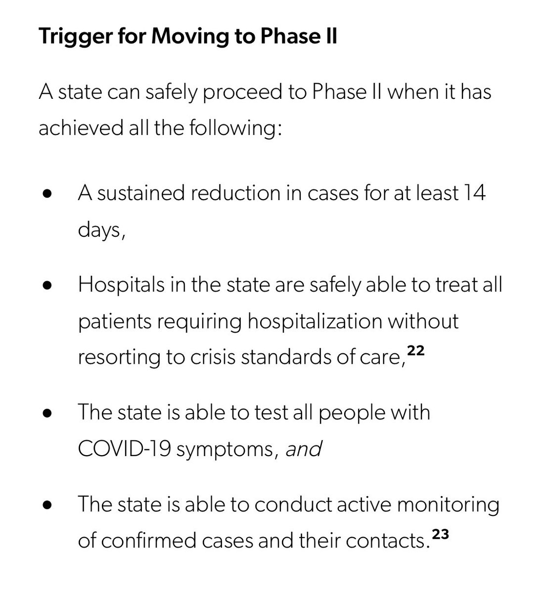 They list the triggers for moving to phase 2. 6/