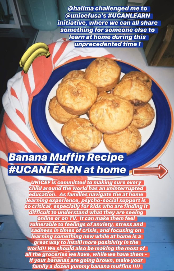 Banana Muffin Recipe #UCANLEARN at home 💛🍌 Here's a link for guidance on how we can all keep kids learning during these difficult times, via @UNICEFUSA : bit.ly/2Wh3cMt