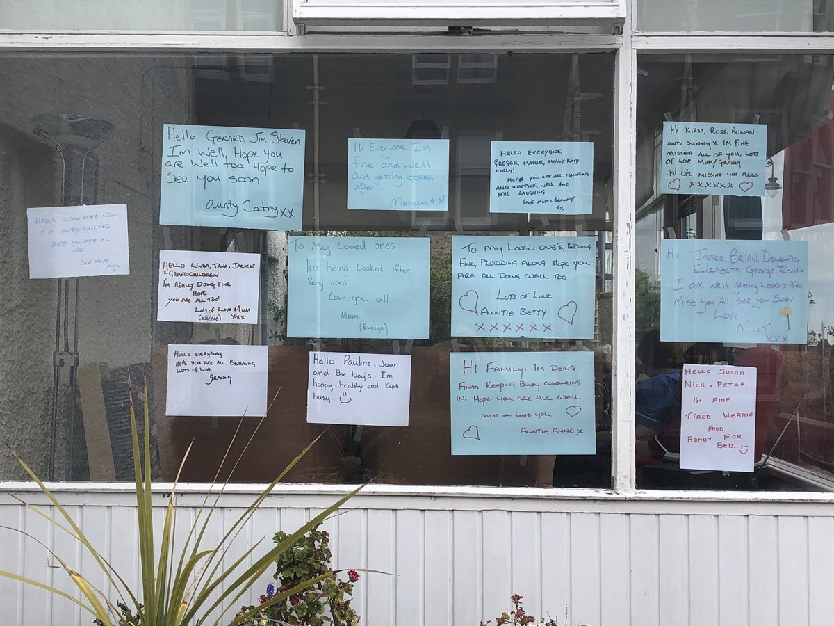 """Hi Family, I'm doing fine. Miss you. Auntie Anne."" ""Hello Linda, Jane & Jackie. I'm really doing fine. Love Mum.""   Messages of love in a local care home window. Spotted on my walk today. #Gratitude  #Connection  #Reassurance"