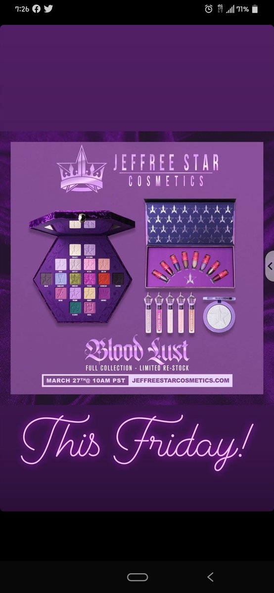 OMG I finally order my very first Jeffree Star palette on Friday, I am so ecstatic and excited and I cannot wait to receive it so I can play with it💜💜💜 @JeffreeStar #BloodLust