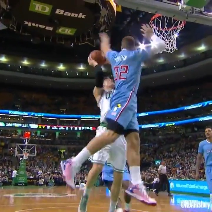 Blake Griffin with the no-look, reverse, karate-chop block!