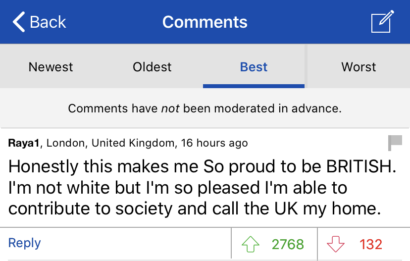 COMMENT OF THE DAY: What interests me the most is the assumption that in order to be BRITISH you have to be white.