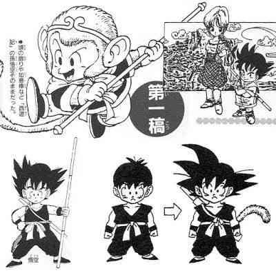 Primeros bocetos de Toriyama de Goku y Bulma.  Toda leyenda tiene su origen ^^
