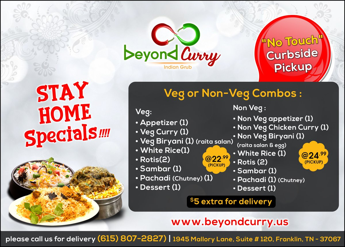 """We will be safely serving our guests solely via """"No touch curbside pick-up""""👨🍳📲🚗  Visit Us:   #BeyondCurry #Nonvegappetizers #resturantinfranklin #Indianrestaurant #indiangrub #indianfood  #southindianfood #delicious #orderonline #dinein #nashvillefoodie"""