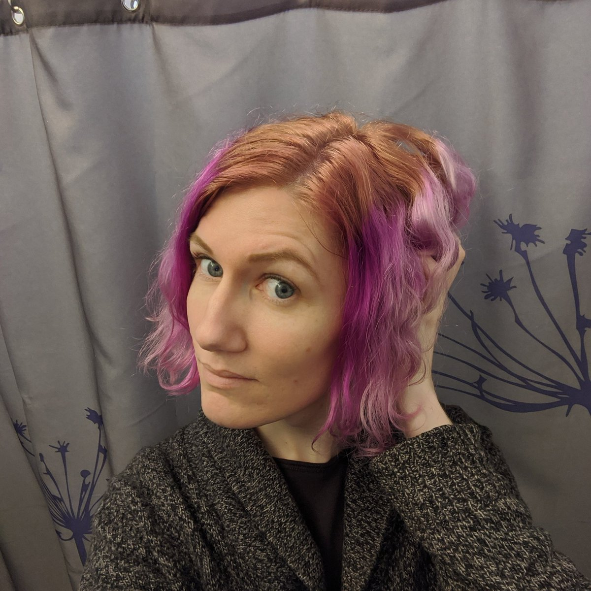 So I tried dying my hair purple the other day and it definitely turned out much more... magenta. Its cute, but its not what I was going for 😅 Gonna try for round two today with a more true deep purple mixed with some blue 💜