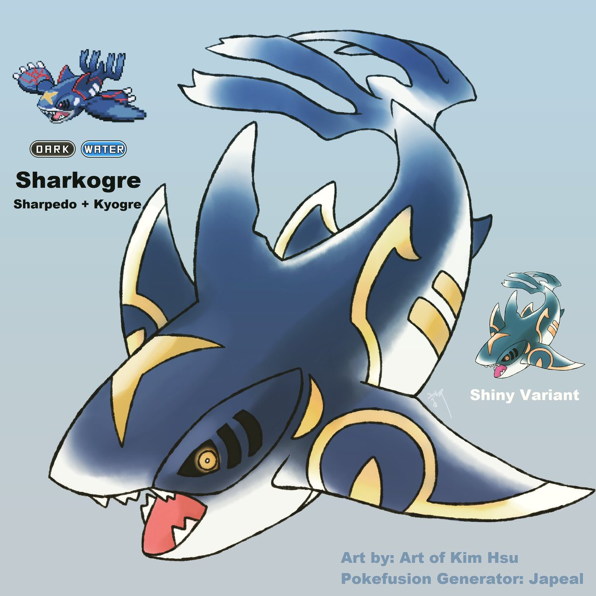 Sharpedo+Kyogre fusion. Feel free to suggest more fusions! #sharpedo #kyogre #shark #hoenn #fakemon #pokefusion #pokemon #greatwhite #kensugimoristyle #conceptart #japealpic.twitter.com/49zD7tXTep