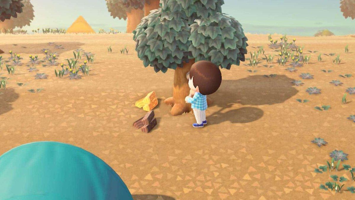 Animals Crossing: guía para principiantes (parte 2) Consigue madera en Animals Crossing: New Horizons talando árboles.