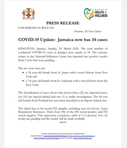 #COVID19 Update: Jamaica now has 34 confirmed cases. @christufton @theserhajm @mohnerha @wrhagovjm https://t.co/lUTBT5LZpC