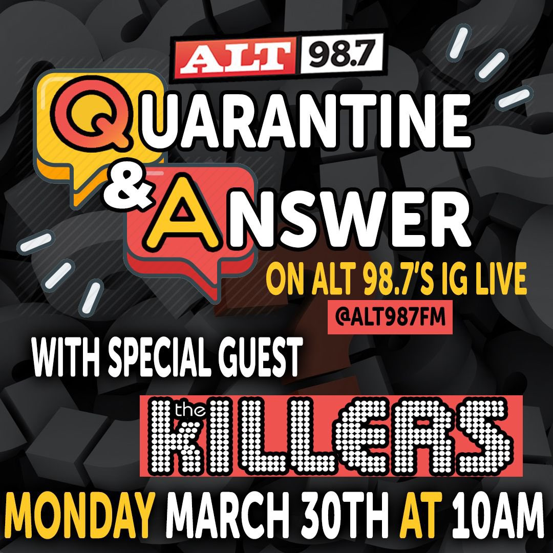 Clear your schedule and join us Monday at 10am PT on @ALT987FM's IG as we do a live Q&A!