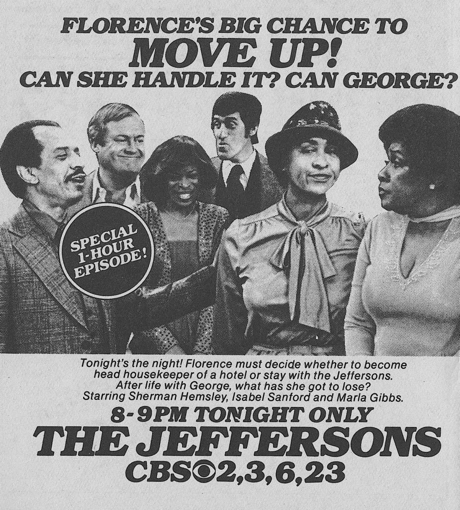 CBS Primetime, March 29, 1981: — On 'The Jeffersons,' Florence is offered an executive position at a downtown hotel <br>http://pic.twitter.com/eCqlj0KJRa