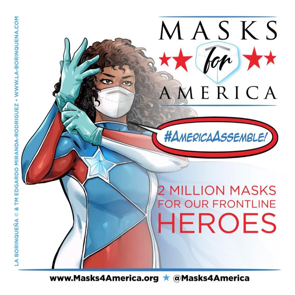The real superheroes are working in hospitals, urgent care, elder care, and they need our help.   Every $2 we donate to @masks4america buys a mask for a health care worker on the front lines. Let's do this, together! #AmericaAssemble #MasksForAmerica   http://masks4america.org