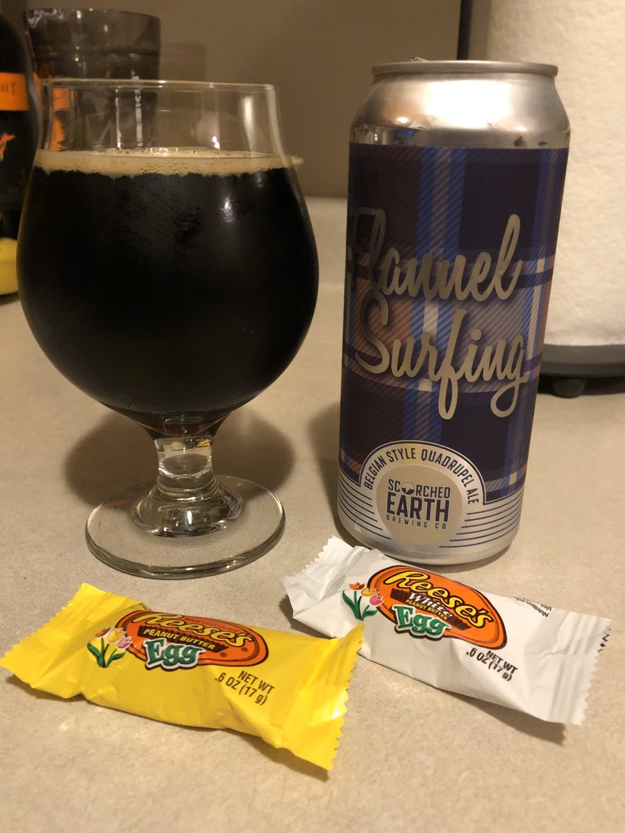 My last @scorchedearthbrewing Flannel Surfing with a couple of Reese's Eggs.  Ending the weekend on a high note.  Going to miss this beer.  #beer pic.twitter.com/4iOe8VzhXr