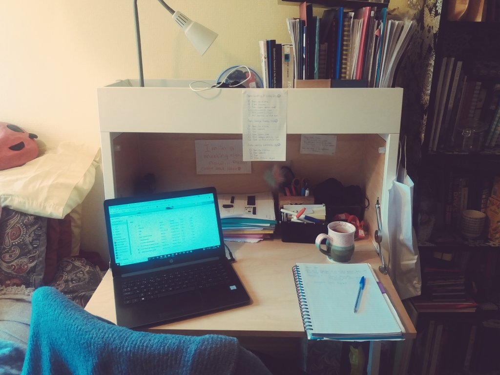 Im back off leave today so Im a bit behind everyone else but here is my obligatory home office set up picture 😁 and yes I did get dressed to come to work today but well see how long that habit lasts! #WorkFromHome #StayHome @AcademicChatter @PhDForum