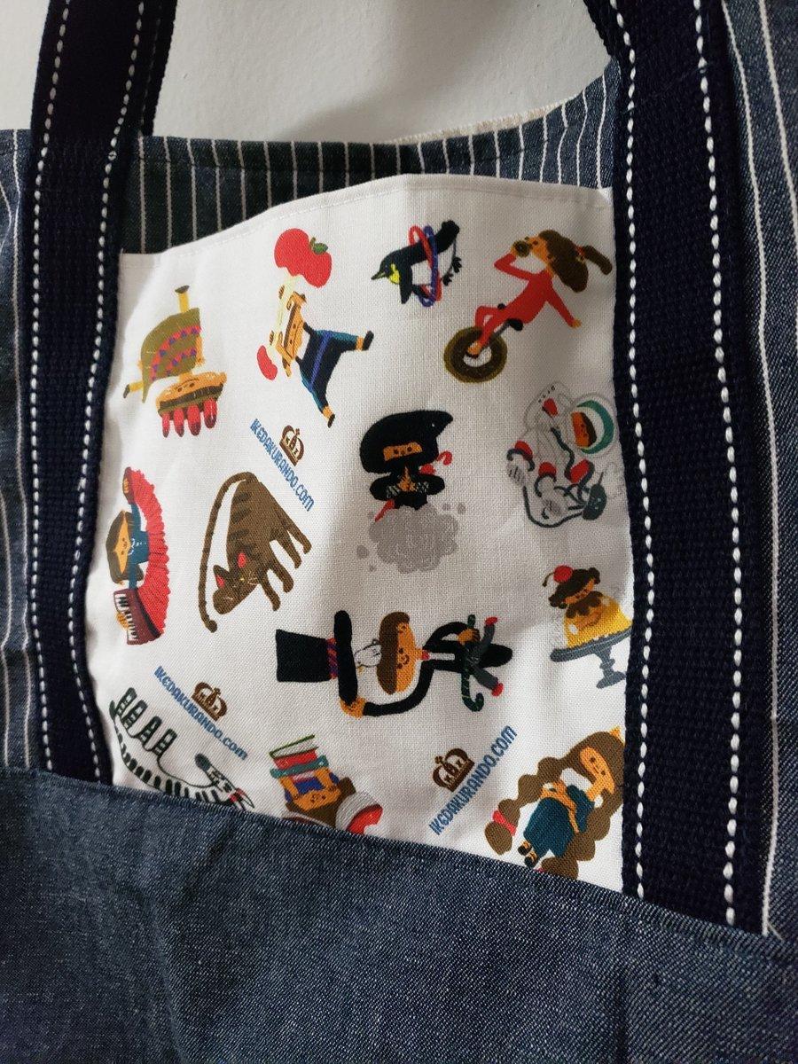 嬉しいメッセージが届いたー!リアルファブリックさんで販売中のオリジナル生地を買っていただいたHさんがトートバッグを作ってくださいました^_^可愛い! #オリジナル生地 #リアルファブリック #布小物 #オリジナルリュック #布物 #テキスタイル #池田蔵人 #イラスト #イラストレーターpic.twitter.com/ij2IToZ8YJ