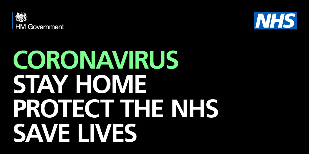 Coronavirus (Covid-19) Stay at Home Protect the NHS Save Lives For more information, please go to ow.ly/vIvp30qsRbb