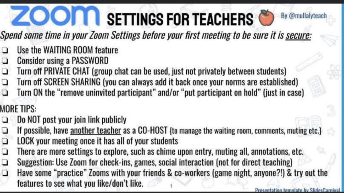 """This is a """"must do"""" checklist if your using Zoom with your classes! Thanks for sharing @mullalyteach"""