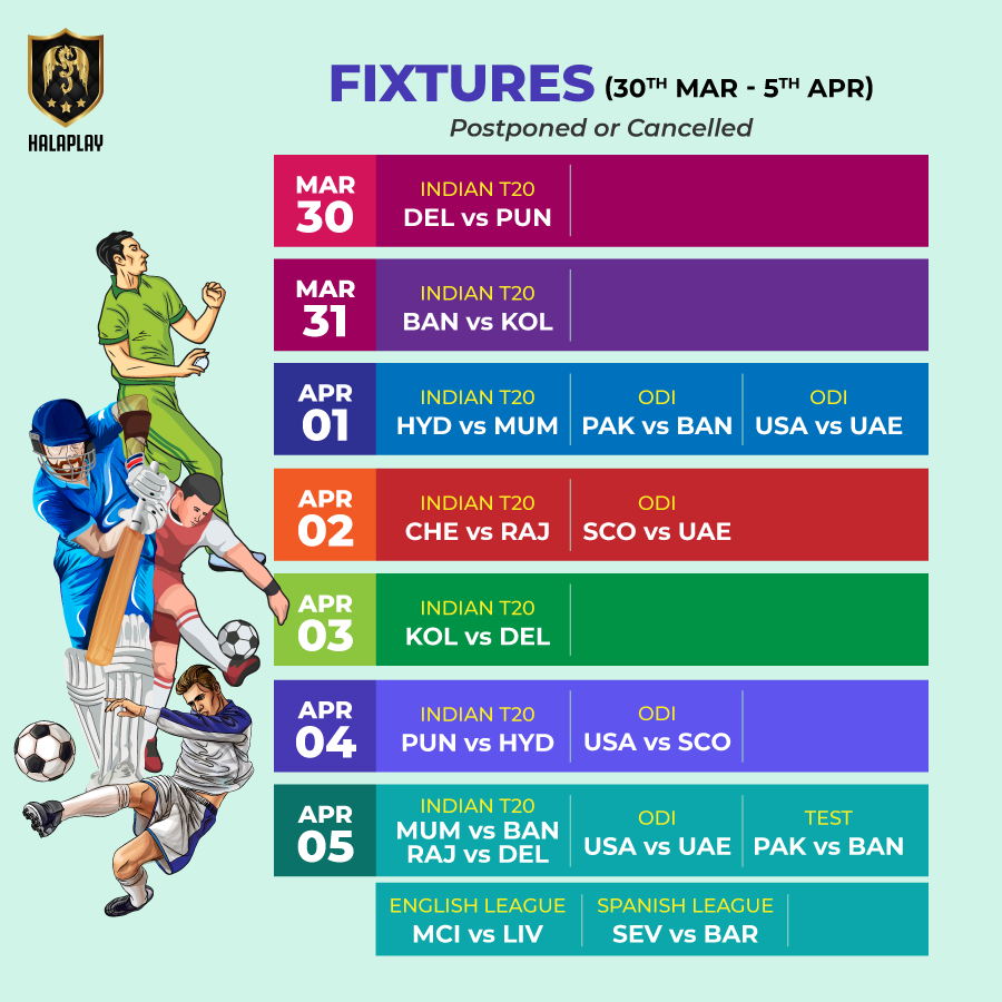 #IPL, ODIs, a Test match, #PremierLeague & #LaLiga!   How are you coping without & ?  #FantasyCricket #FantasyFootball #MondayThoughtspic.twitter.com/JzMzUJ6EMq