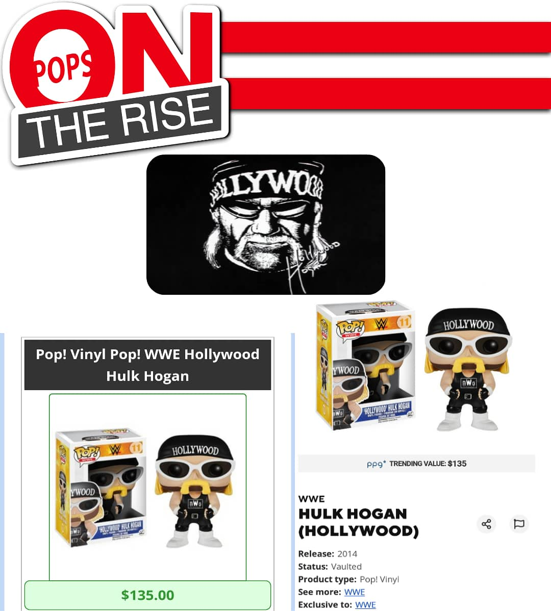 "#Popsontherise WWE: Hollywood Hulk Hogan  Current Value: $135 . ""To all the NWO fans that worship Hollywood Hogan, welcome back to the house that Hollywood built& as the sign says On the 7th Day God created Hollywood"" One of the greatest wrestlers One of the greatest factions NWOpic.twitter.com/0wb8xIXLaq"