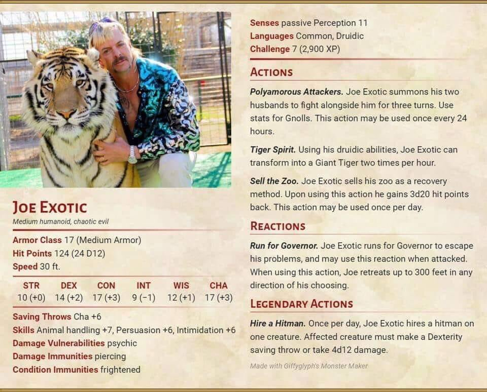 Hey @Limitless5e, I found a new Evo for Carbide City.  I didn't make it, but I had to share it. #tigerking #joeexotic #DND #dungeonsanddragons #5evo https://t.co/q3lYDJK0xv