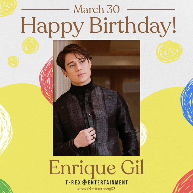 Happy 28th birthday, Enrique Gil! Have a blast today. :)  Trivia: His full name is Enrique Mari Bacay Gil V.