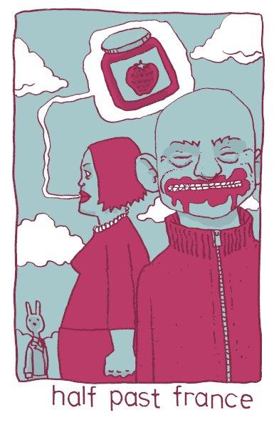 Sketchbook malarkey: half past France #sketchbook #malarkey #drawing #artwork #comics #doodle #illustration #inkdrawing #nulsh #sketch #swear #cat #jam #saliva #mess #gimp #france #yum  #half #past #johncale
