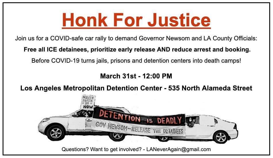 Join us Tuesday to push @GavinNewsom to #FreeThemAll, and endorse @JusticeLANow's calls to #ReleaseThemNow. We need decisive action before jails, prisons, and detention centers become death camps. #DetentionIsDeadly #NeverAgainIsNow